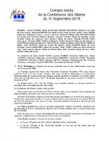 CR Conférence des Maires 11 09 19