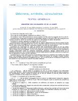 Arrêté du 15 mars 2020 mesures de lutte contre covid19